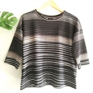 Bobeau Black brown striped boxy Nordstrom top S